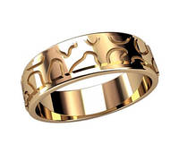 Интересное женское золотое колечко 585* пробы с гравировкой