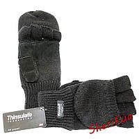 Вязаные черные перчатки-варежки MIL-TEC Thinsulatе 12545002