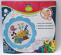 """Набор для вышивания крестиком """"Цветы и птицы"""" в голубой рамке 57898"""