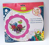 """Набор для вышивания крестиком """"Цветы и птицы"""" в розовой рамке 57899"""