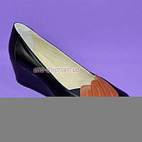 """Кожаные женские туфли с вставками из рыжей кожи на танкетке. ТМ """"Maestro"""", фото 1"""