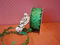 Кружевная лента вьюнок цветочек 2 см зеленая