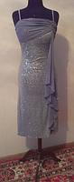 Серое узкое вечернее платье с пайетками, р. 42-44