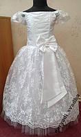 NEW! Нежное белое детское платье из гипюра на 6-8л