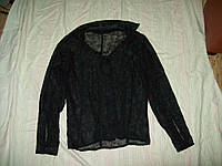 Блуза узорная черная прозрачная пог-47см