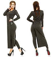 Женский брючный костюм-двойка с длинной туникой и лосинами