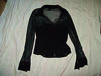 Черная рубашка-сетка корсет пог=43см
