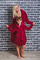Детский махровый халат на запах бордо, фото 1