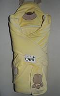 """Конверт для выписки из роддома на махре  """"Мишки с лапками"""" ТМ """"Lari"""", желтый"""