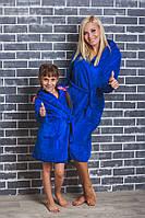 Детский махровый халат на запах электрик