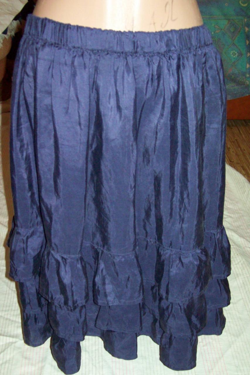Юбка фиолетовая пышная 100%шелк,вся