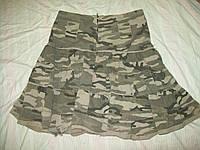 Стильная юбка хаки камуфляж котон