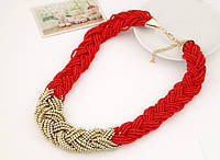 Ожерелье Чешские бусы красные/бижутерия/цвет цепочки золото