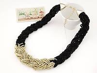 Ожерелье Чешские бусы черные/бижутерия/цвет цепочки золото