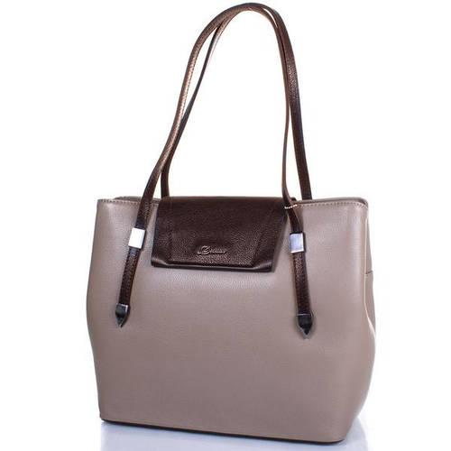 Кожаная классическая  женская сумка DESISAN (ДЕСИСАН) SHI2896-283 Бежевый