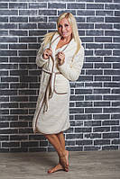 Женский махровый халат на запах молочный, фото 1