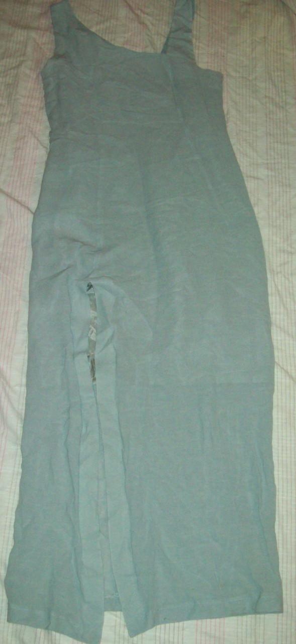 Платье серо-голубое 70%вискоза+30%лен