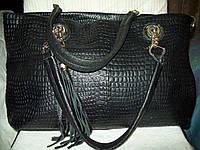 БОЛЬШАЯ стильная сумка 100%кожа+кисточка