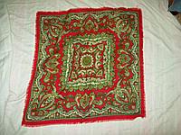 Платок красно-зеленый узор 64*64см шерсть