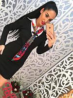 Женское стильное деловое платье с галстуком (2 цвета)