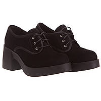 Женские туфли Strado (черные, замшевые, на шнурках, стильные, удобные)
