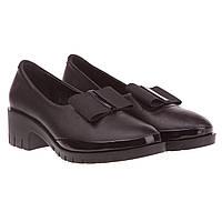 Женские туфли Amati (черные, с элегантный замшевой бантом, удобные, стильные)