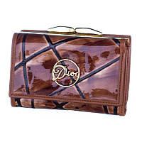 Кошелек женский маленький кожаный Christian Dior коричневый