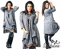 Женское ассиметричное платье свободного кроя с карманами