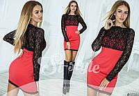 Платье элегантное, выполнено из двух комбинированных материалов
