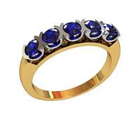 Деловое женское золотое кольцо 585* пробы с красивыми Фианитами
