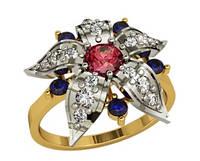 Небольшое золотое кольцо 585* с большим цветком