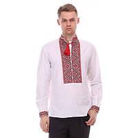 Роскошная льняная вышитая сорочка с богато расшитым красным орнаментом для мужчин