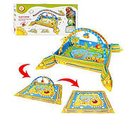 Детский развивающий коврик для младенца с бортиками, 2 дуги, свет, звук
