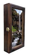 Ключница настенная деревянная 20х35см с фото под стеклом