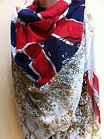 шарф  палантин   из хлопка  с рисунком в красных и синих цветах