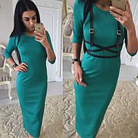 Женское повседневное платье-миди с портупеей в подарок (3 цвета)