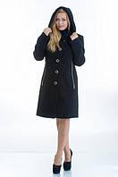 Пальто на пуговицах с капюшоном и молниями по бокам