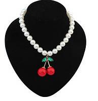 Ожерелье Вишенки с жемчугом/бижутерия/цвет белый, красный