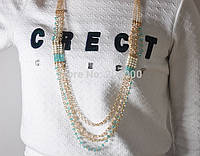 Ожерелье Бусинки/бижутерия/цвет цепочки золото/бусины из горного хрусталя