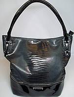Стильная женская кожаная сумка Silvia Rosa c лаковыми вставками цвета серый металлик