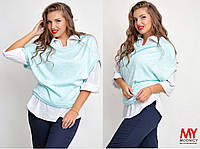 Двойка Блуза-рубашка и безрукавка 03296