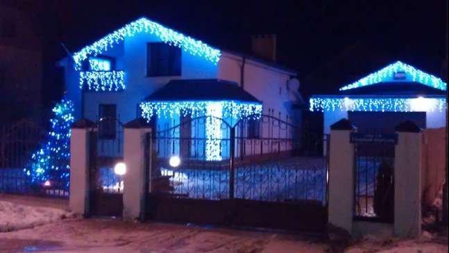 Гирлянда 220 LED Бахрома  5*0,5 м синяя.