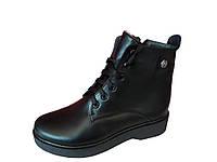 Зимние женские ботинки на танкетке кожаные