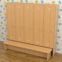 Шкафчик детский с лавкой для раздевалки