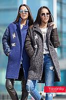 Пальто комбинированное из шерсти и плащевки