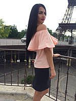 Женская блуза с рюшем открытые плечи