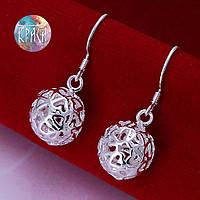 Серьги круглые серебро 925