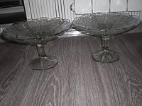 Ваза фруктовница большая старинное стекло 2шт