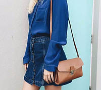 Джинсовые юбки трапеция темно-синий джинс