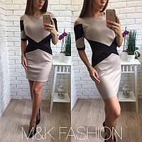 Женское модное платье со вставкой сетки (3 цветов)